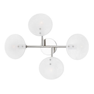Giselle Polished Nickel Four-Light Wall Sconce with Candy Glass
