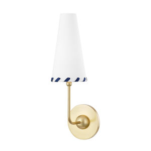 Cassie Aged Brass One-Light Wall Sconce with Belgian Linen Shade