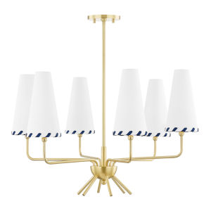 Cassie Aged Brass Six-Light Chandelier with Belgian Linen Shade