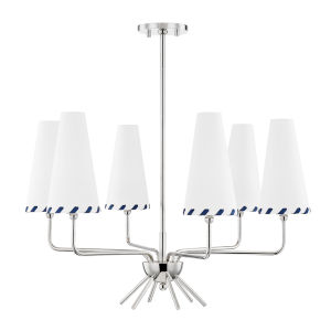 Cassie Polished Nickel Six-Light Chandelier with Belgian Linen Shade