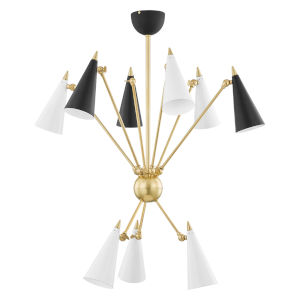 Moxie Aged Brass Nine-Light Chandelier