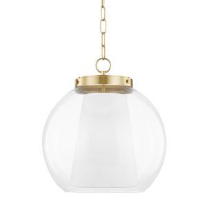 Sasha Aged Brass 17-Inch LED Globe Pendant with Belgian Linen Inner Shade