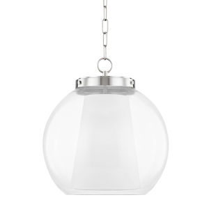 Sasha Polished Nickel 17-Inch LED Globe Pendant with Belgian Linen Inner Shade