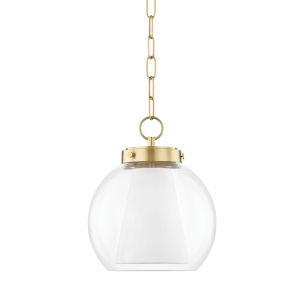 Sasha Aged Brass 12-Inch LED Globe Pendant with Belgian Linen Inner Shade