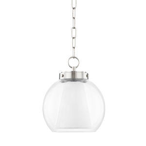 Sasha Polished Nickel 12-Inch LED Globe Pendant with Belgian Linen Inner Shade
