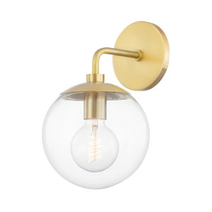Meadow Aged Brass One-Light Wall Sconce with Clear Glass
