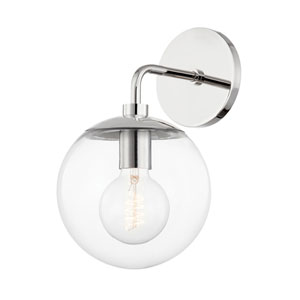 Meadow Polished Nickel One-Light Wall Sconce with Clear Glass
