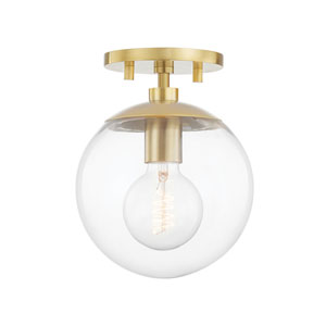 Meadow Aged Brass One-Light Semi-Flush Mount with Clear Glass