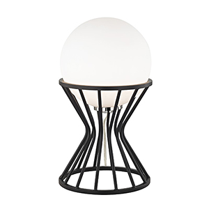 Petra Polished Nickel Black 1-Light Eight-Inch Table Lamp