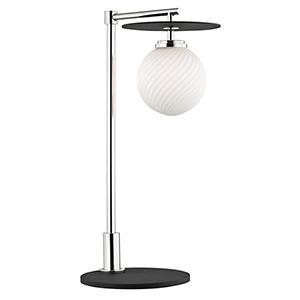 Ellis Polished Nickel Black LED 8-Inch Table Lamp