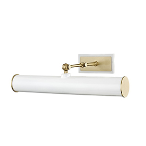 Holly Aged Brass White 2-Light 16-Inch Plug-In Wall Sconce