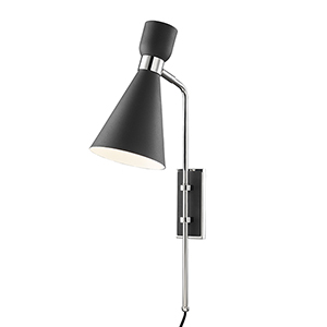 Willa Polished Nickel and Black One-Light Wall Sconce