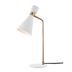 Willa Aged Brass and White One-Light Table Lamp