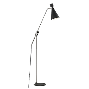 Willa Polished Nickel and Black One-Light Floor Lamp