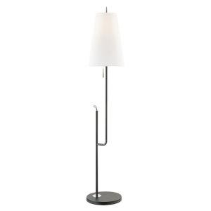 Lillian Polished Nickel and Black One-Light Floor Lamp