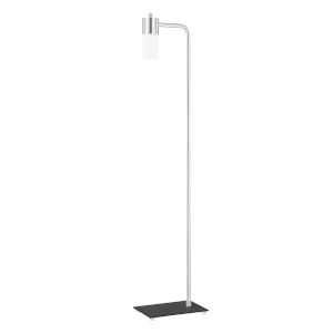 Lola Polished Nickel LED Armchair Floor Lamp with Opal Matte Glass