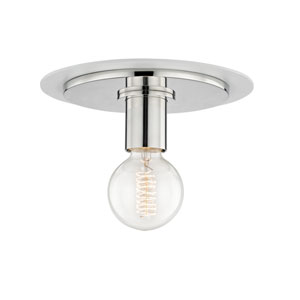 Milo Polished Nickel 9-Inch One-Light Flush Mount with White Accents