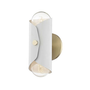 Immo Aged Brass 5-Inch Two-Light Wall Sconce with White Shade