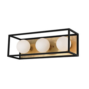 Aira Aged Brass 15-Inch Three-Light Vanity