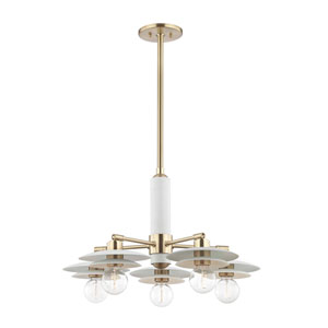 Milla Aged Brass 26-Inch Five-Light Chandelier