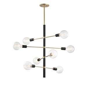 Astrid Aged Brass 28-Inch Eight-Light Chandelier