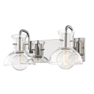 Riley Polished Nickel 15-Inch Two-Light Vanity