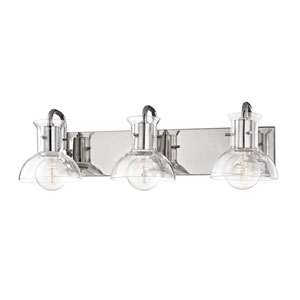 Riley Polished Nickel 24-Inch Three-Light Vanity