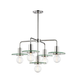 Peyton Polished Nickel 26-Inch Five-Light Chandelier