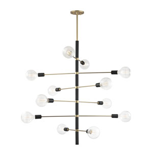 Astrid Aged Brass 36-Inch Twelve-Light Chandelier