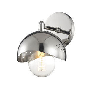 Heidi Polished Nickel 6-Inch One-Light Wall Sconce