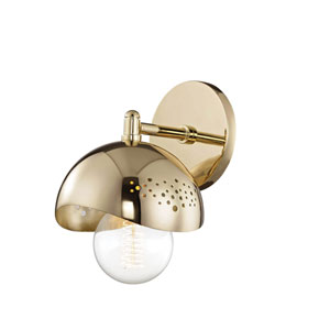 Heidi Polished Brass 6-Inch One-Light Wall Sconce