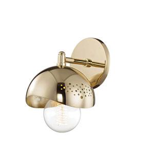 Heidi Polished Brass 6-Inch One-Light Wall Sconce