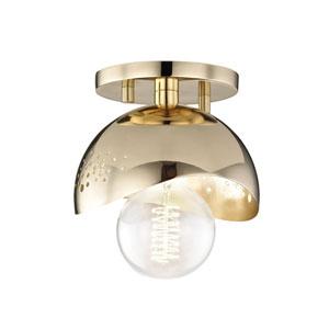 Heidi Polished Brass 6-Inch One-Light Flush Mount