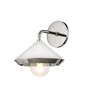 Marnie Polished Nickel 8-Inch One-Light Wall Sconce with White Shade