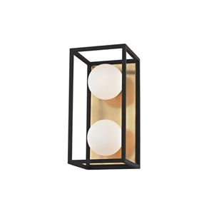 Aira Aged Brass 10-Inch Two-Light Vanity