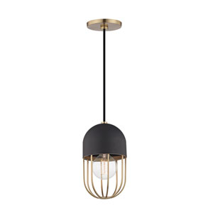 Haley Aged Brass 6-Inch One-Light Mini Pendant