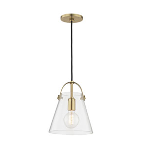 Karin Aged Brass 9-Inch One-Light Mini Pendant