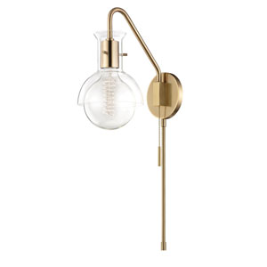 Riley Aged Brass 6-Inch One-Light Wall Sconce with Clear Glass