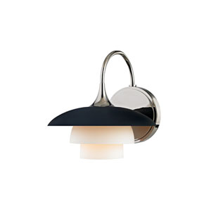 Barron Polished Nickel and Black One-Light Wall Sconce