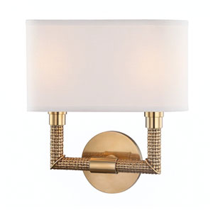 Dubois Aged Brass 11-Inch Two-Light Wall Sconce