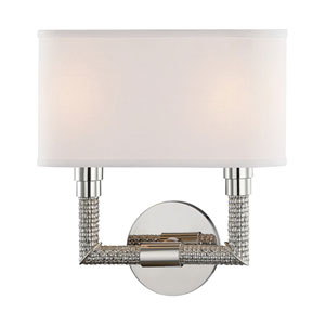 Dubois Polished Nickel 11-Inch Two-Light Wall Sconce