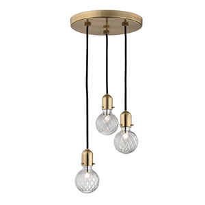 Marlow Aged Brass Three-Light Pendant
