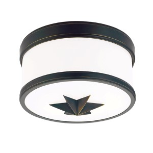 Seneca Old Bronze One-Light Flush Mount with Opal Glass