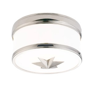 Seneca Polished Nickel One-Light Flush Mount with Opal Glass