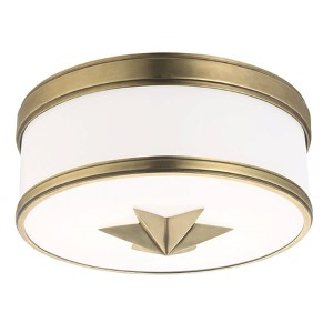 Seneca Aged Brass Two-Light Flush Mount with Opal Glass