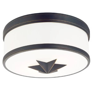Seneca Old Bronze Two-Light Flush Mount with Opal Glass