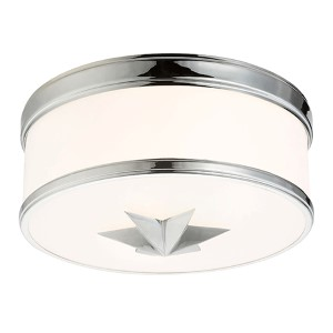Seneca Polished Chrome Two-Light Flush Mount with Opal Glass