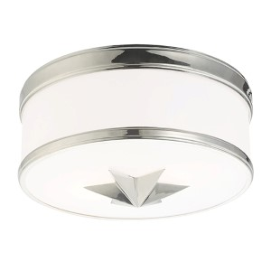 Seneca Polished Nickel Two-Light Flush Mount with Opal Glass