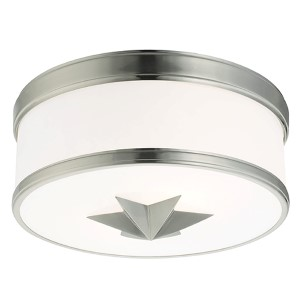 Seneca Satin Nickel Two-Light Flush Mount with Opal Glass