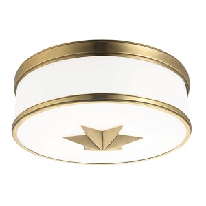 Seneca Aged Brass Three-Light Flush Mount with Opal Glass